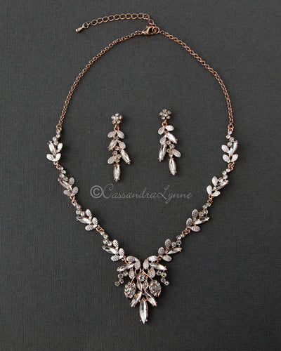 Rose Gold Bridal Necklace of Elongated Crystals