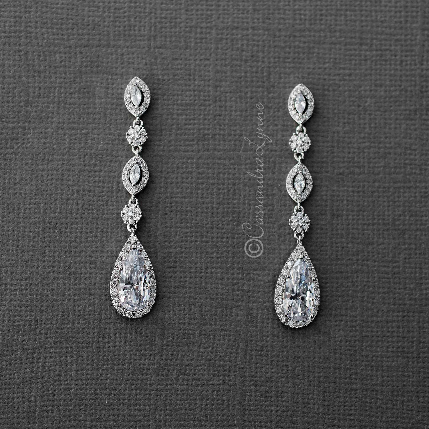 CZ Wedding Earrings of Elongated Teardrops