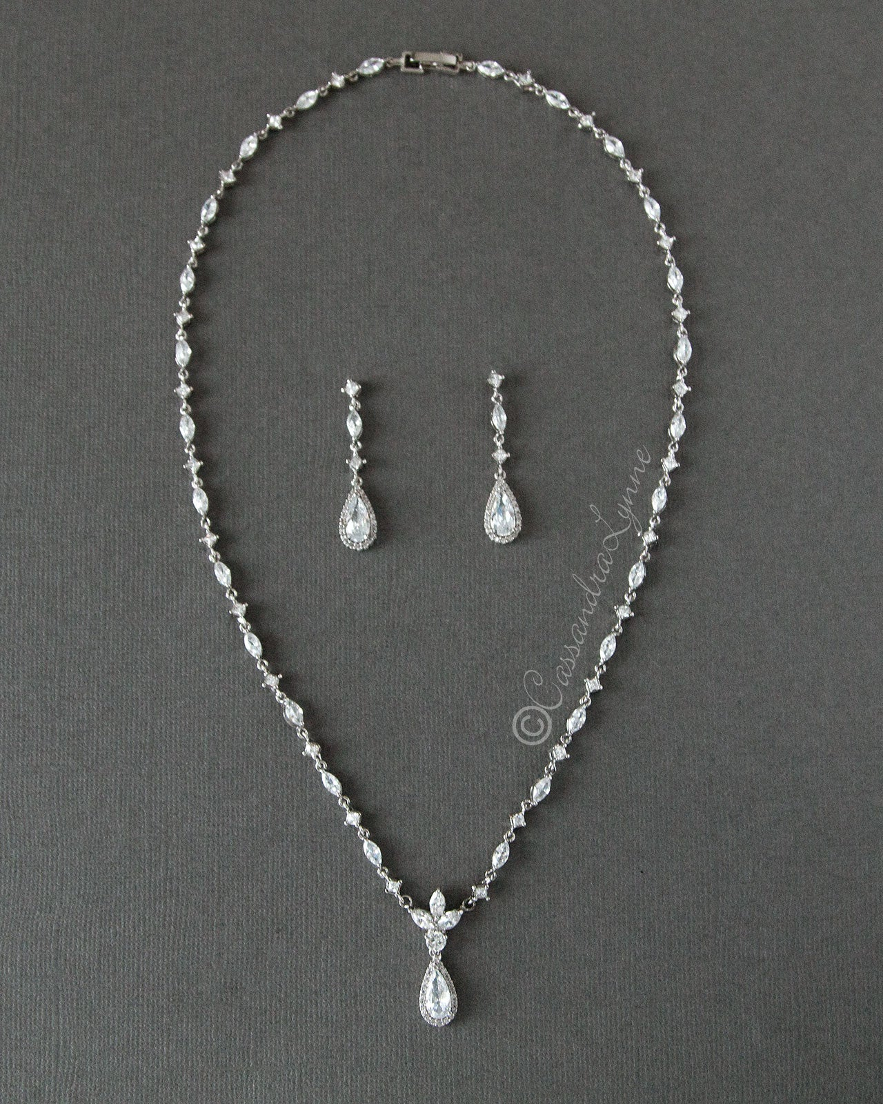 Bridal Necklace and Earrings with Elongated Pear Drop