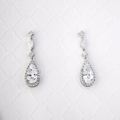 CZ Necklace Set of Delicate Elongated Teardrops