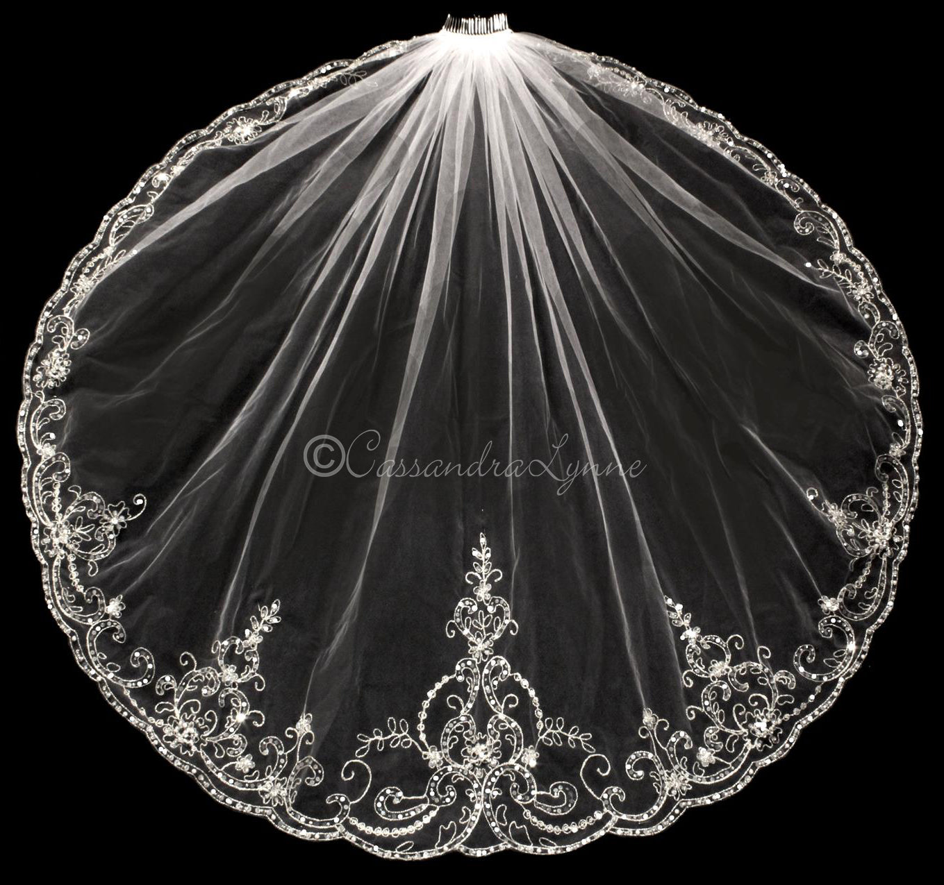 Regal Embroidered Wedding Veil with Sequins and Jewels