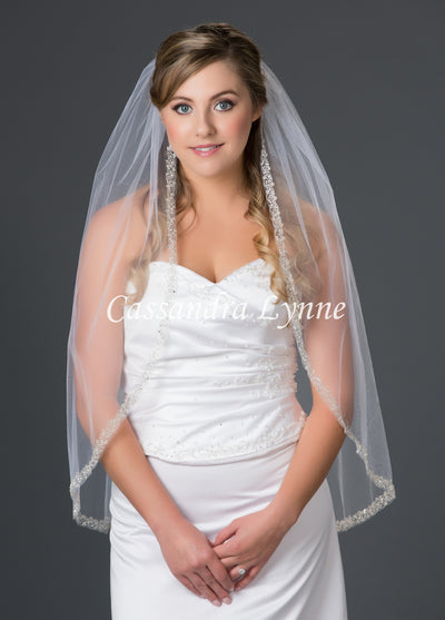 Fingertip Bridal Veil with Swirly Silver Embroidery Two Tier or One