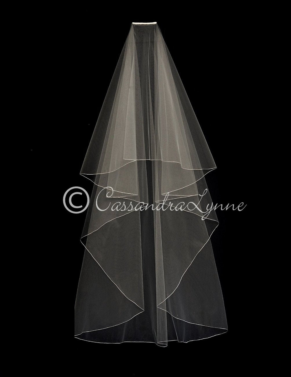 Waltz Bridal Veil with No Gather Embroidered Edge