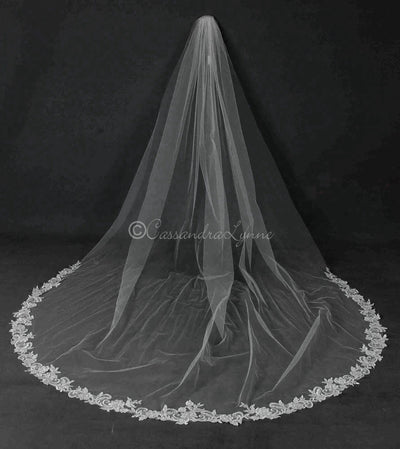 Extra Wide Partial Beaded Lace Bridal Veil
