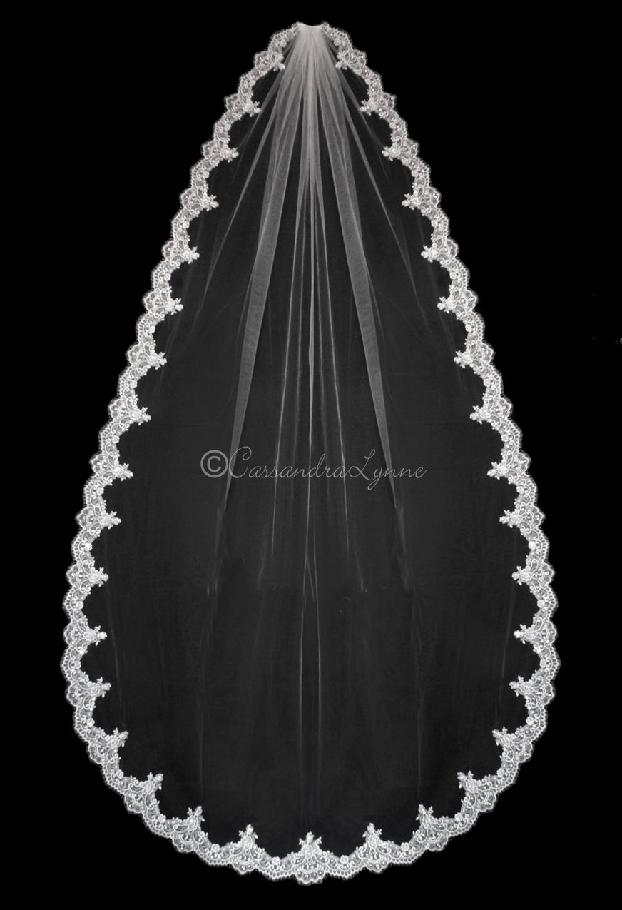 Wide Lace Wedding Veil with Sequins