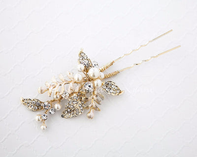 Light Gold Wedding Pin of Fern Leaves and Pearls