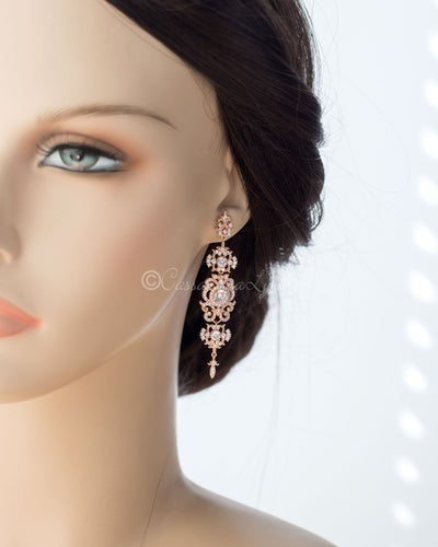 Delicate Scrolling CZ Bridal Earrings