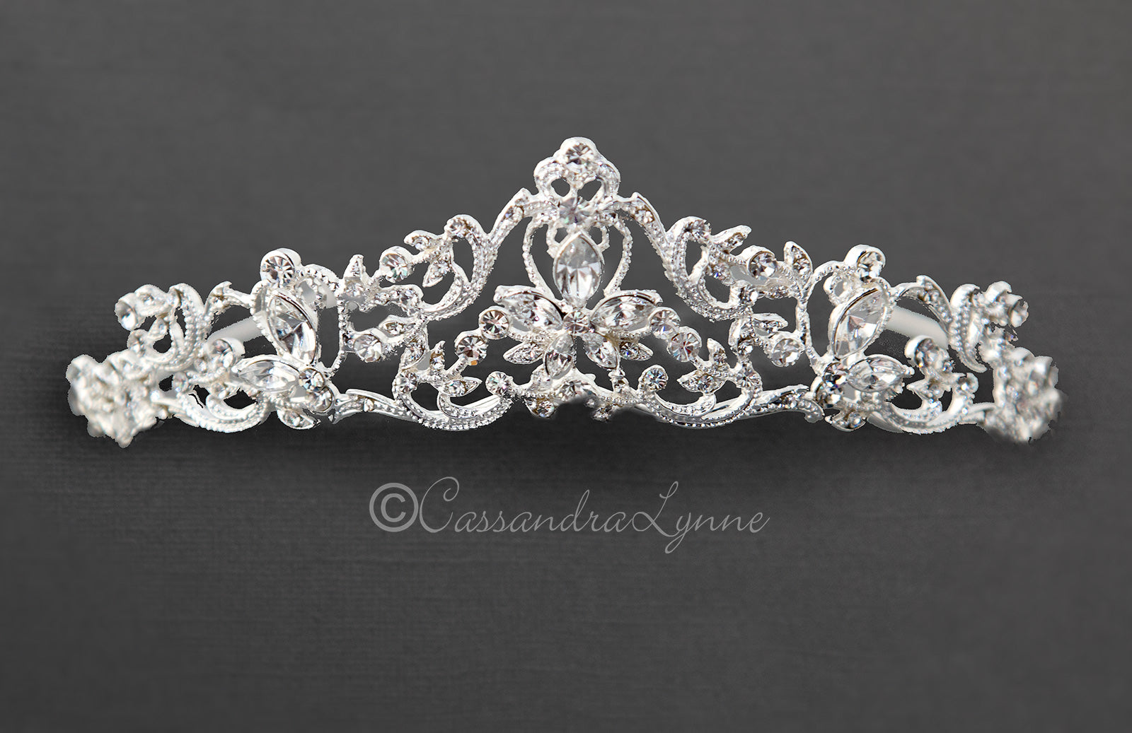 Filigree Bridal Tiara with Marquise Stones