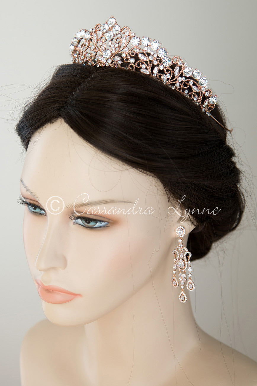 Rose Gold Wedding Tiara Headpiece