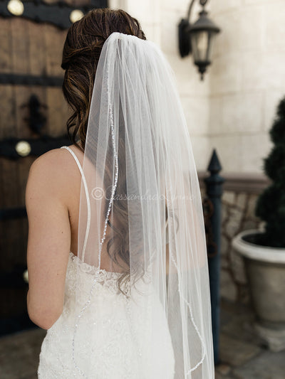 Fingertip Veil with Crystal Beads