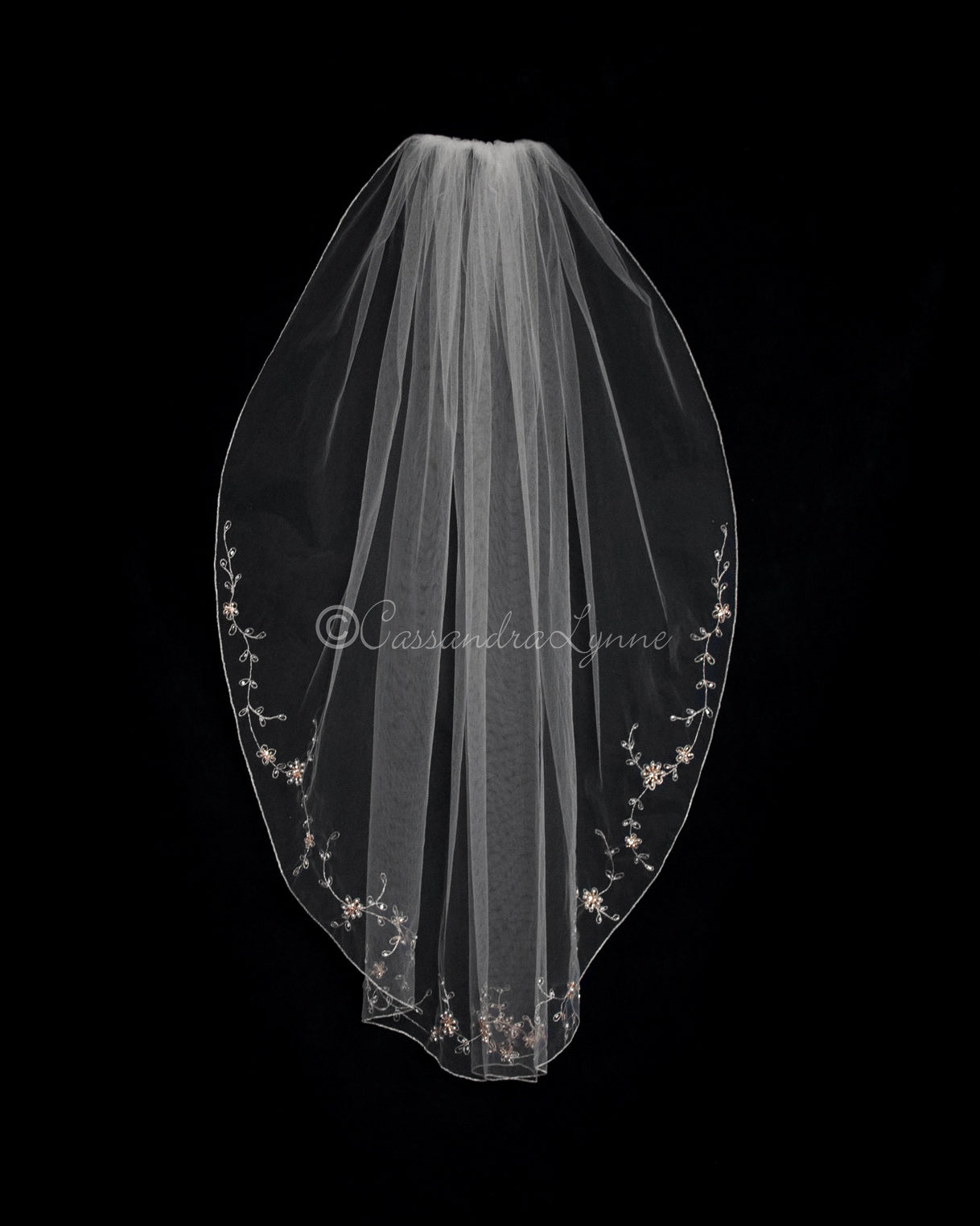 Rose Gold Beaded Bridal Veil with Pearls