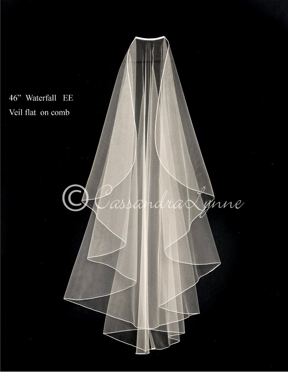 Fingertip Wedding Veil Flat on Comb with Embroidered Edge