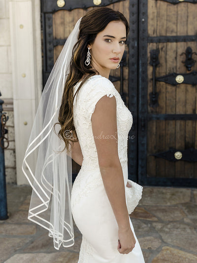 Double Satin Ribbon Trim Cathedral Bridal Veil
