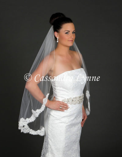Fingertip Corded Partial Lace Wedding Veil