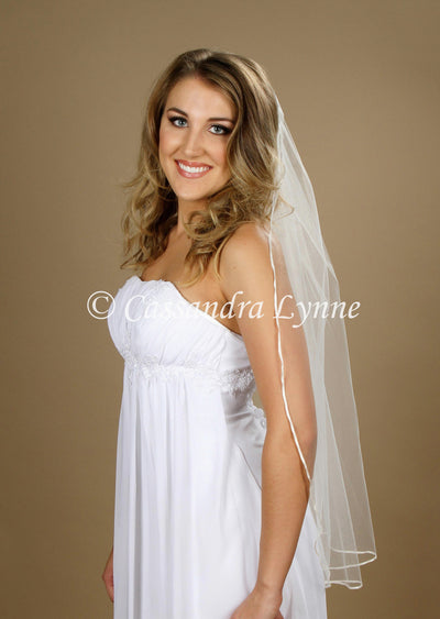 36 Inch Bridal Veil with Tiny Ribbon Trim