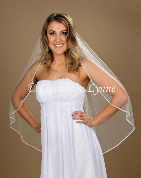 Fingertip Bridal Veil with Classic Rhinestone Trim