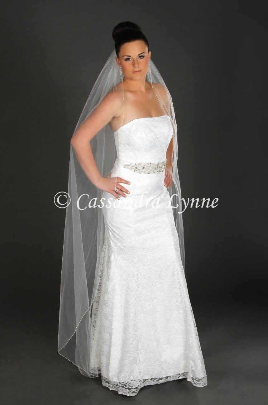 f4e76110d36ef Floor Length Pencil Edge Wedding Veil - Cassandra Lynne
