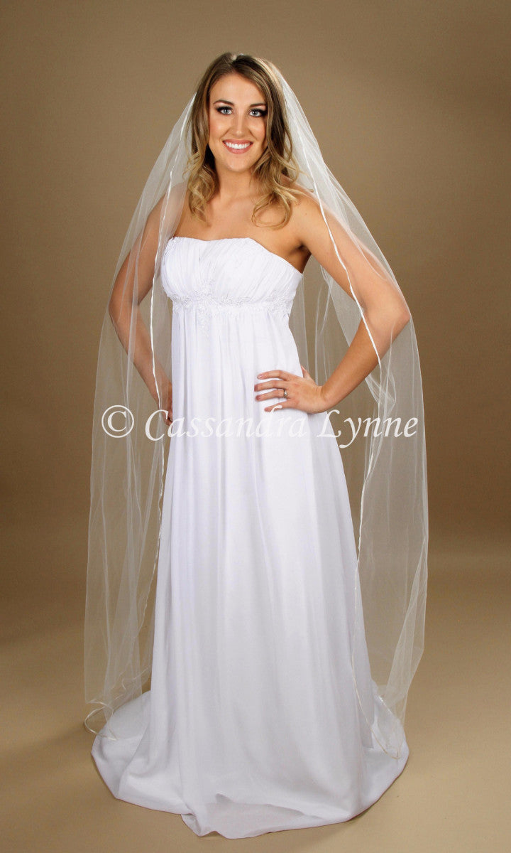 Floor Length Thin Ribbon Wedding Veil