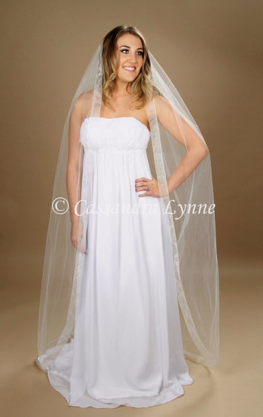 Floor Length Wedding Veil with Wide Sheer Ribbon