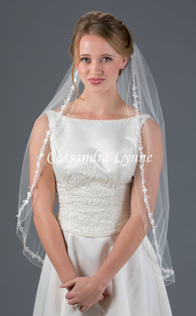 Fingertip Wedding Veil with Floral Inset Lace