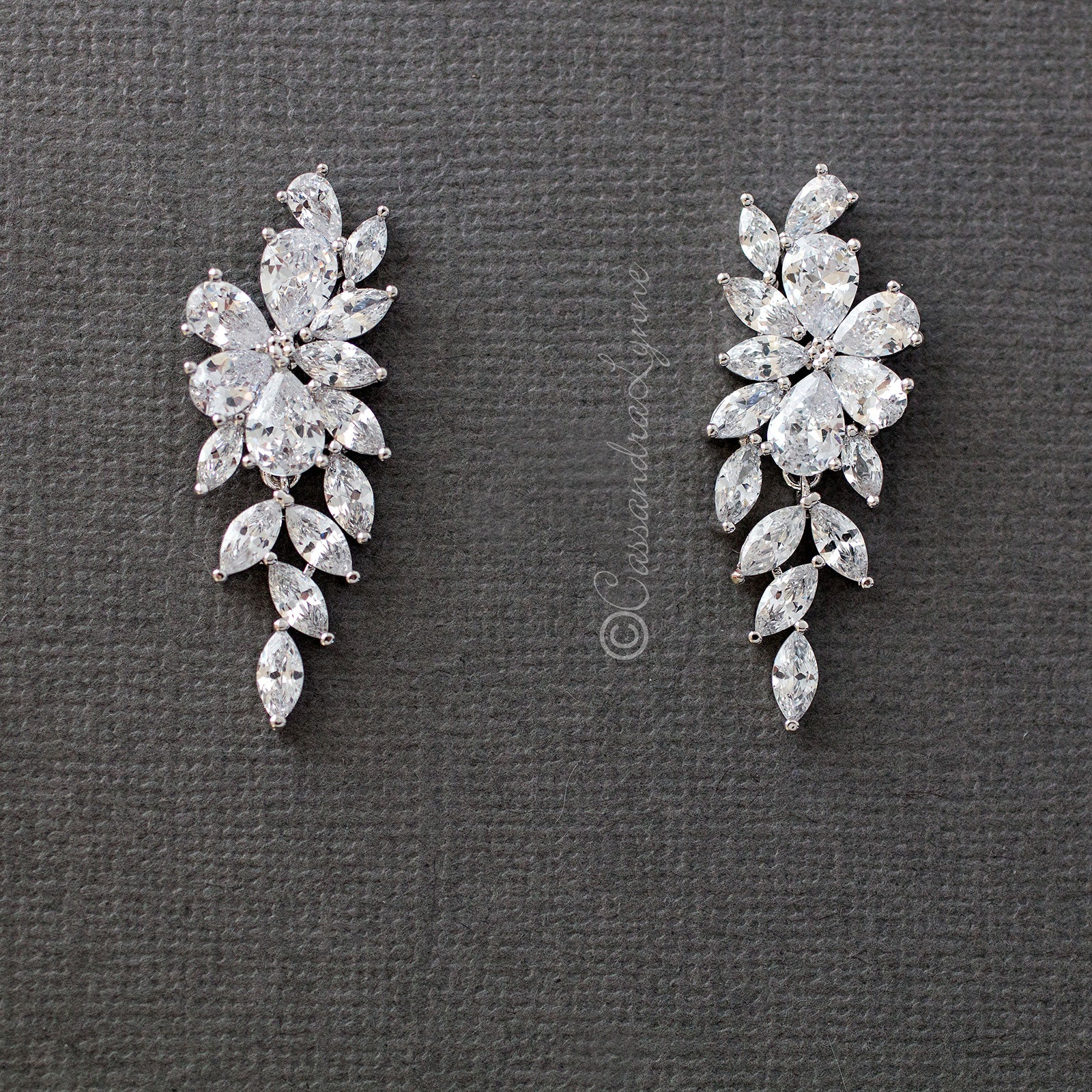 flower cz wedding earrings silver