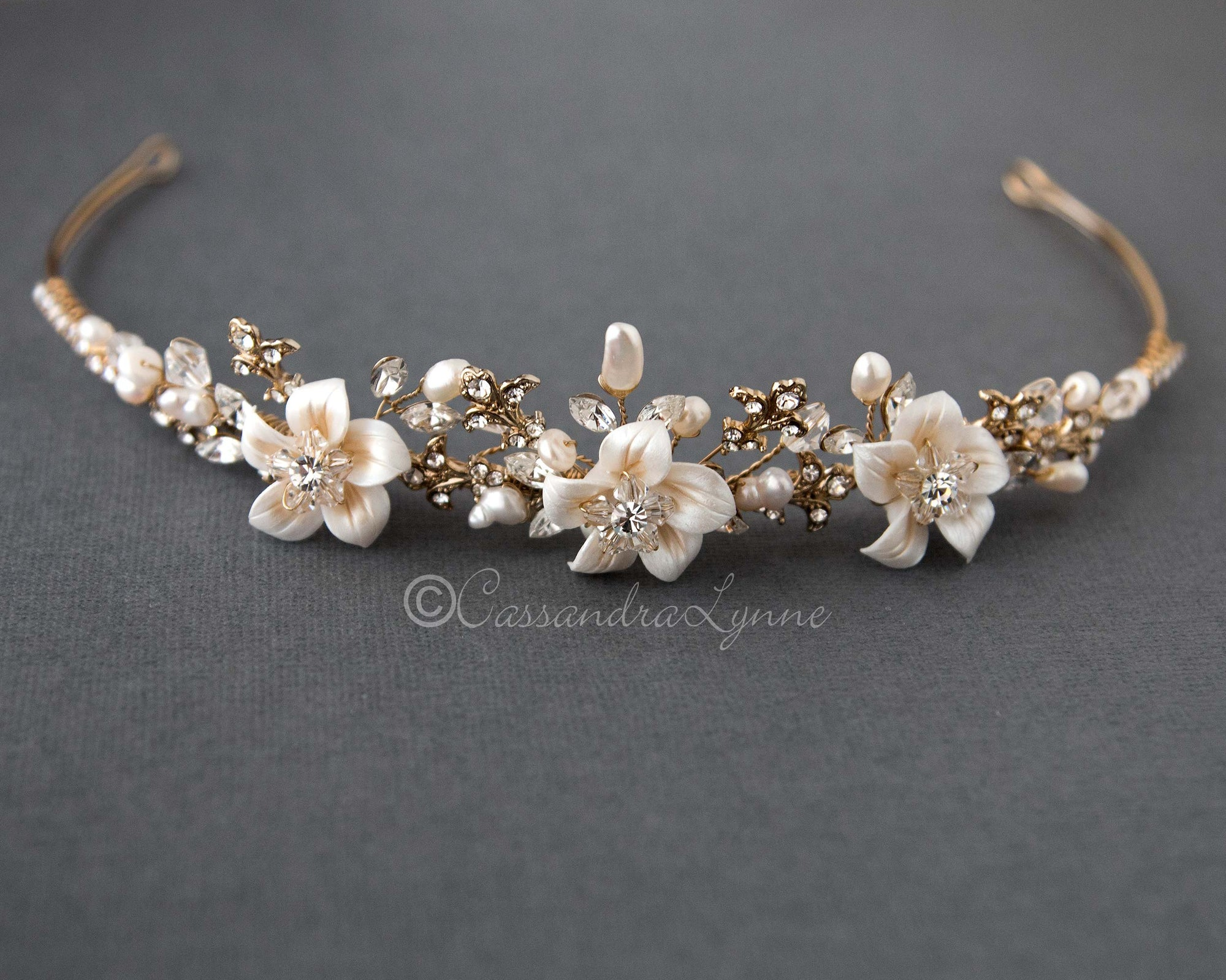 Gold Wedding Tiara with Crystals and Flowers