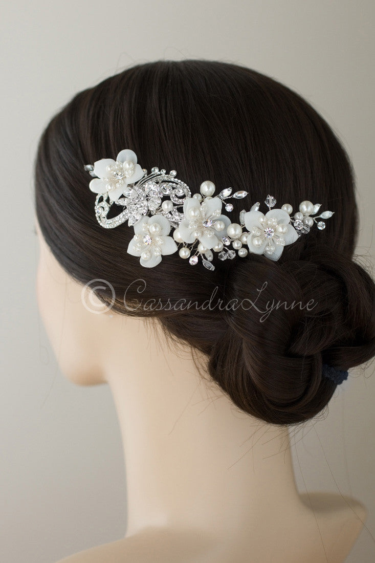 Bridal Headpiece of Flowers Pearls Crystals and Jewel Swirls Comb