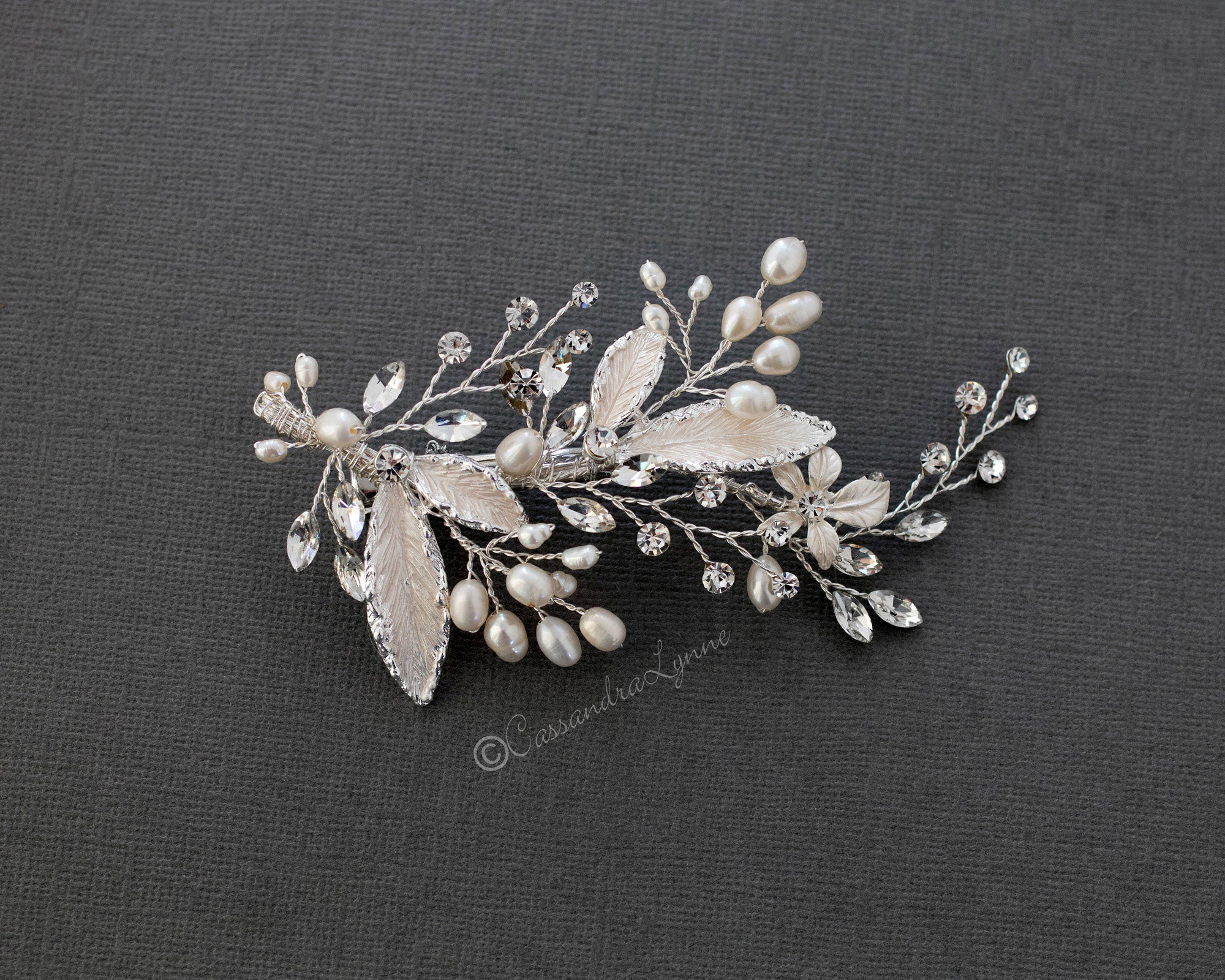 Freshwater Pearl Leaves Wedding Hair Clip