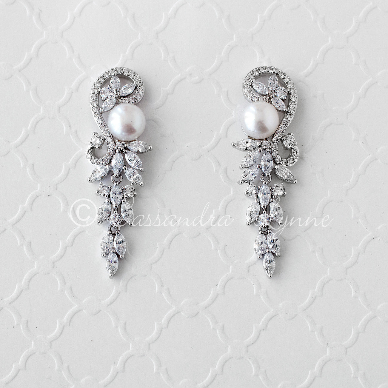 Pearl and CZ Wedding Earrings Silver