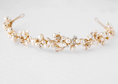 Gold Bridal Headpiece of Flowers and Pearl Clusters