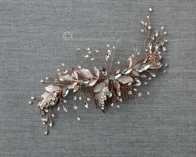 Frosted Leaves and Tiny Pearls Wedding Comb