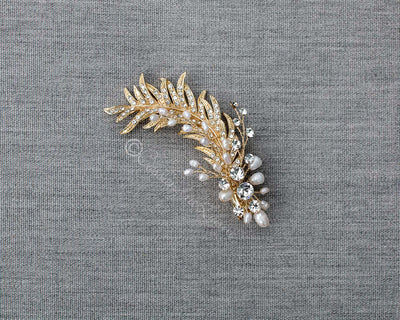 Gold Feather Hair Clip with Pearls