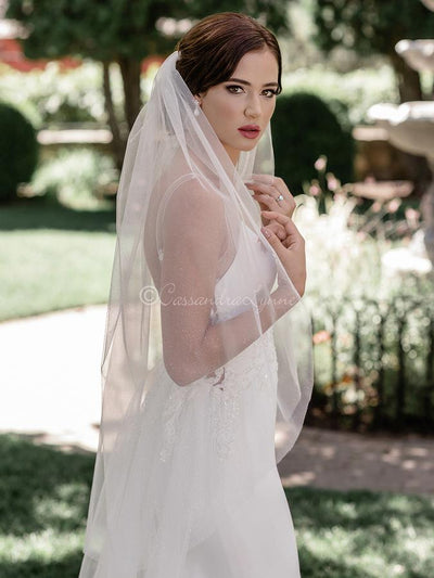Fingertip English Glitter Tulle Wedding Veil