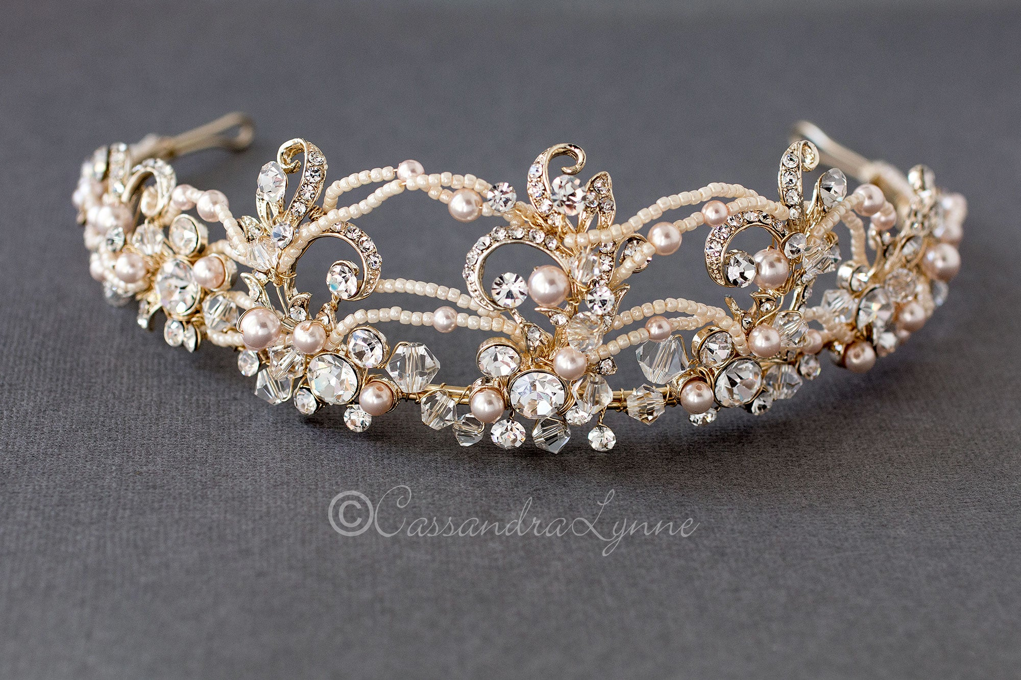 Golden Tiara with Ivory Pink Pearls