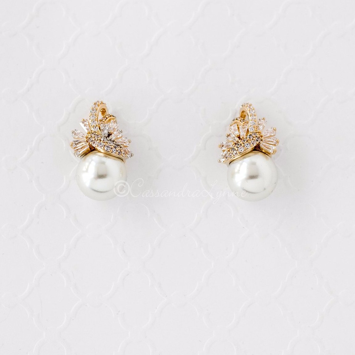 Vintage Pearl and CZ Wedding Jewelry Studs Gold