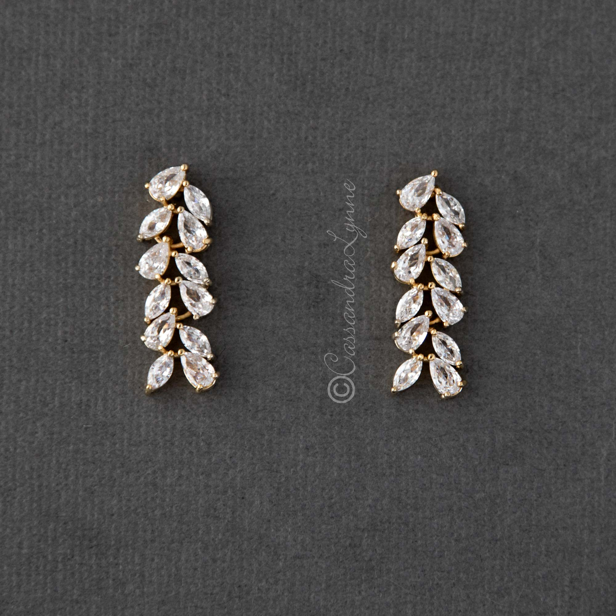 Marquise and Pear Cluster Drop Earrings