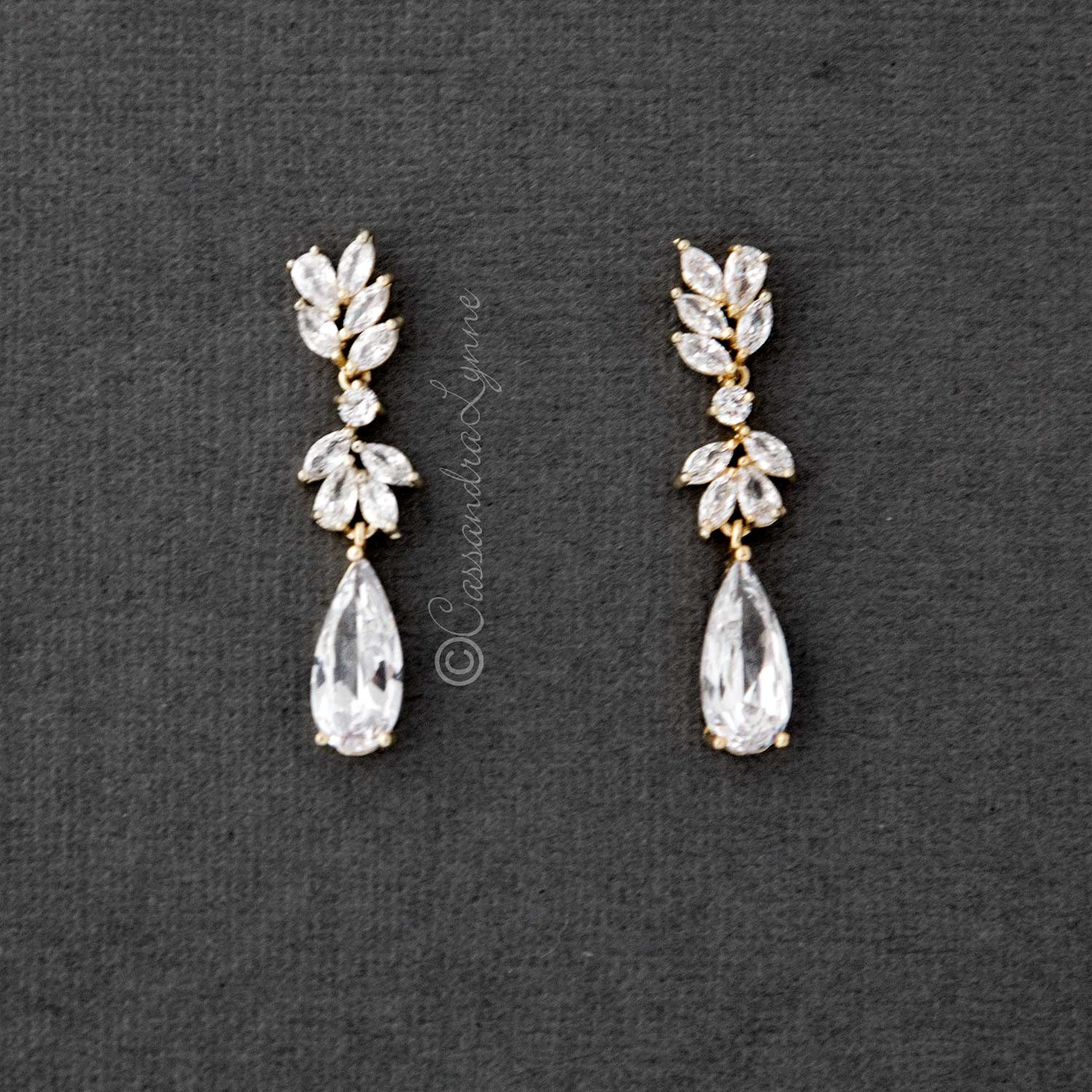 CZ Elongated Drop Wedding Earrings