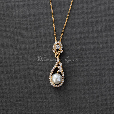 Delicate CZ Pearl Drop Pendant Necklace for the Bride