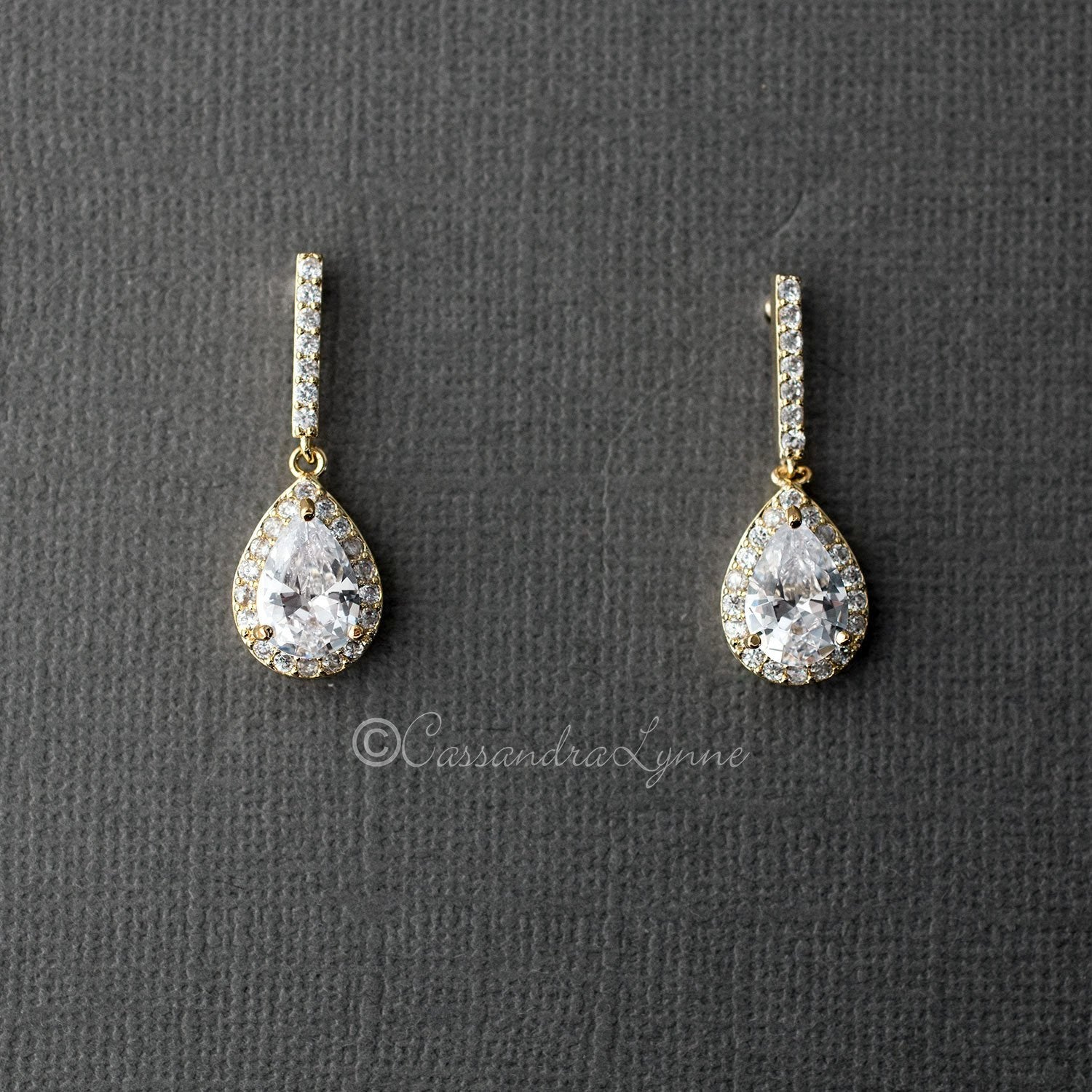 Pave Pear Drop CZ Earrings Gold