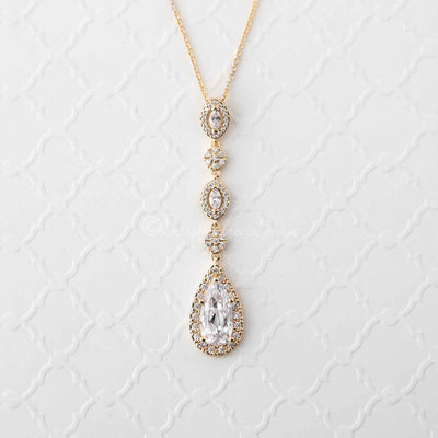 CZ Wedding Necklace in Rose Gold Silver Gold