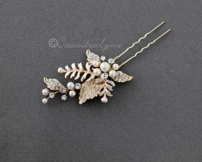 light gold fern wedding hair pin