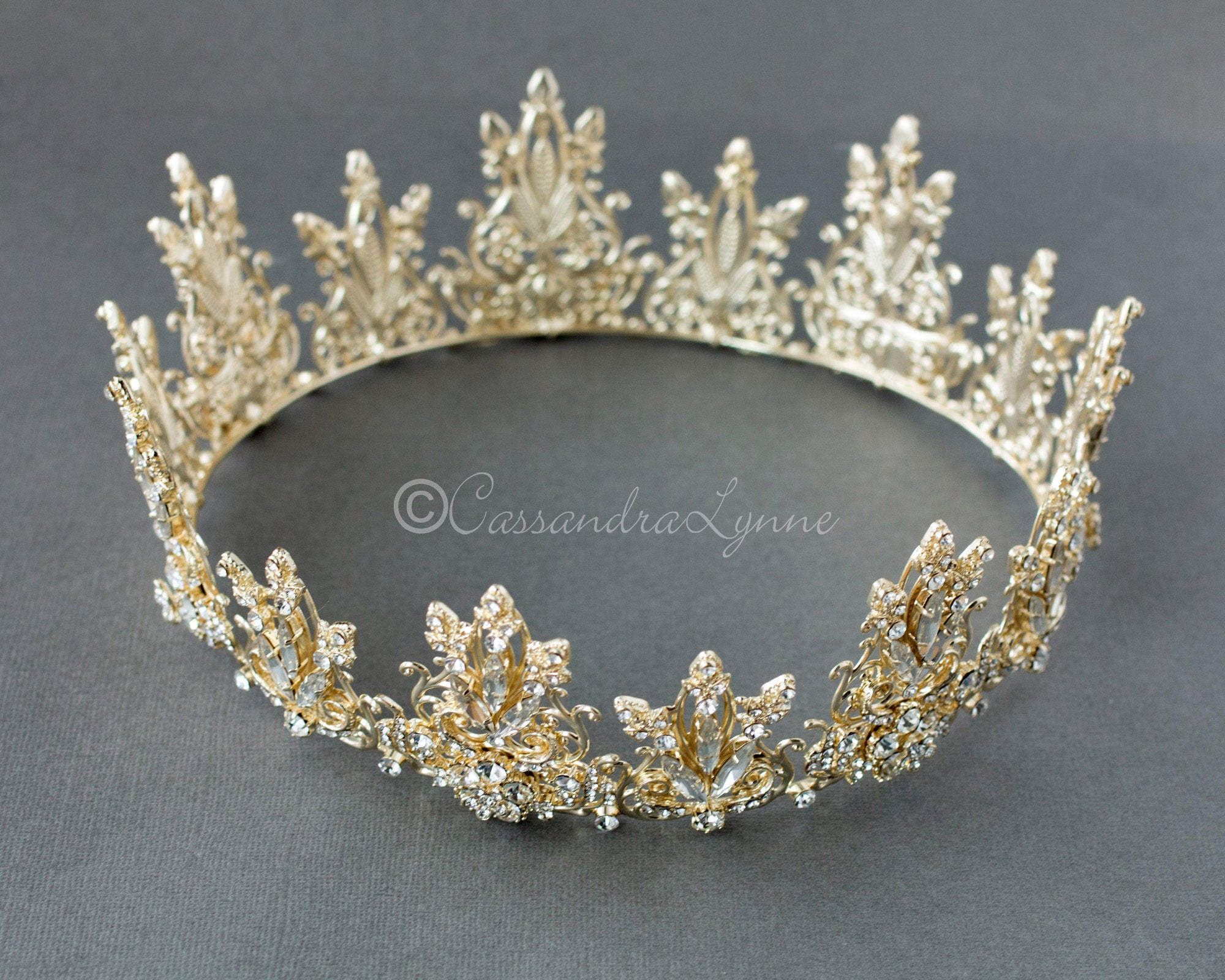 full circle bridal crown in light gold