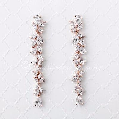 rose Gold Long Dangle Wedding Earrings