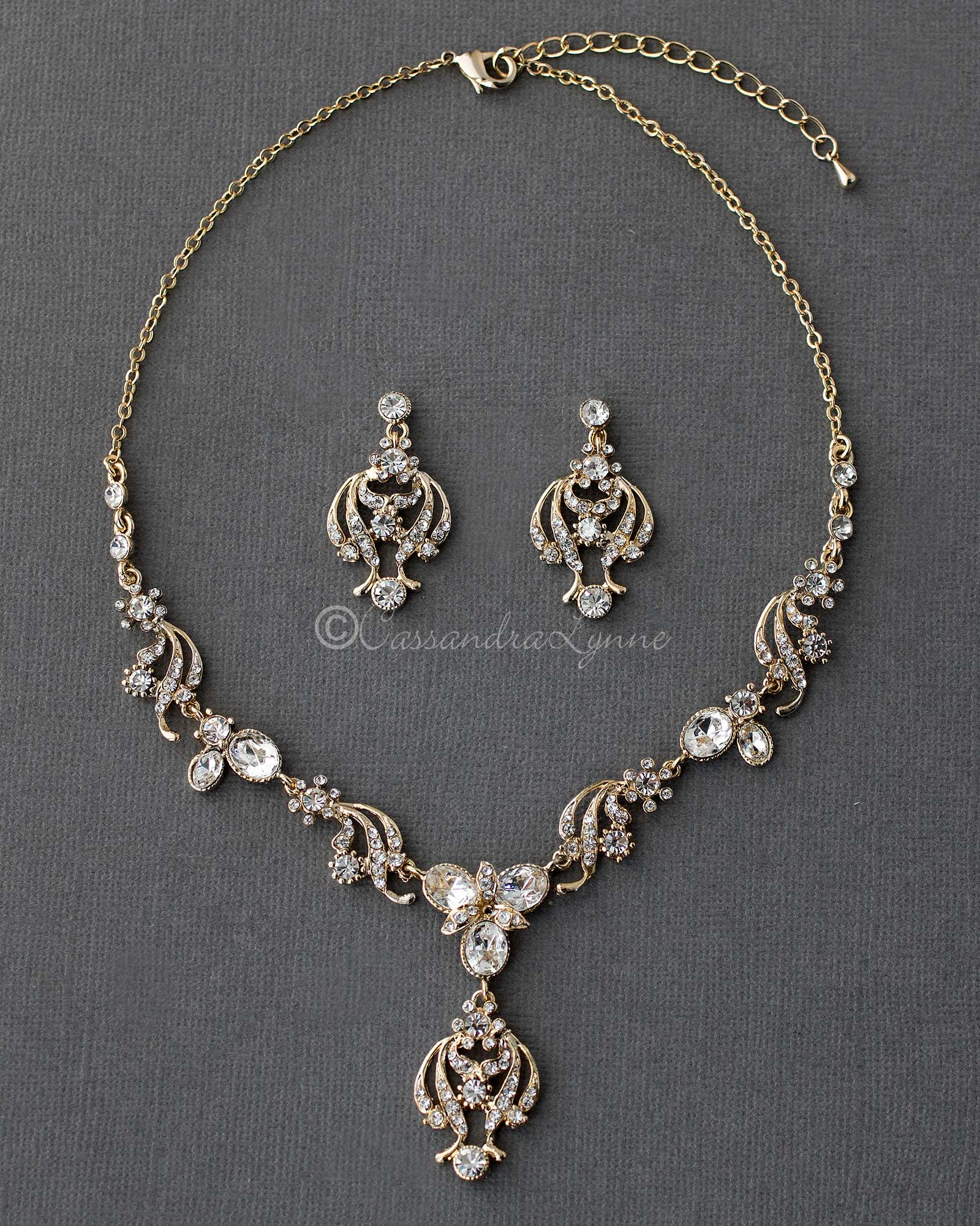 Gold Oval Crystal Necklace Set with Chandelier Drop