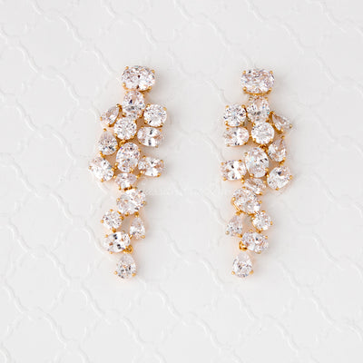 Pear and Oval Cluster Dangle CZ Earrings Gold