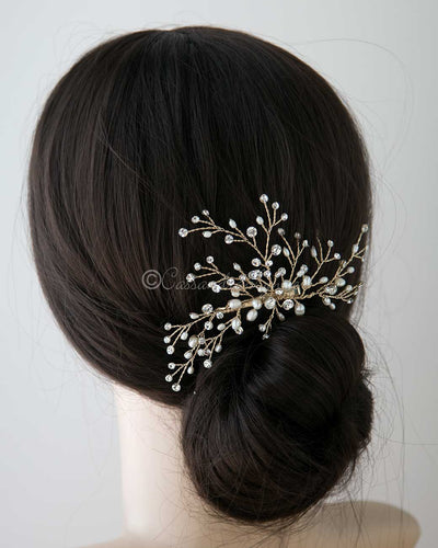 Gold Bridal Hair Spray Clip with Pearls