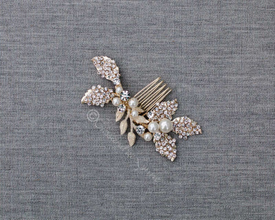 Light Gold Bridal Comb with Crystals and Pearls