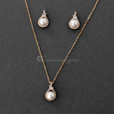 CZ and Pearl Necklace and Earring Set Gold