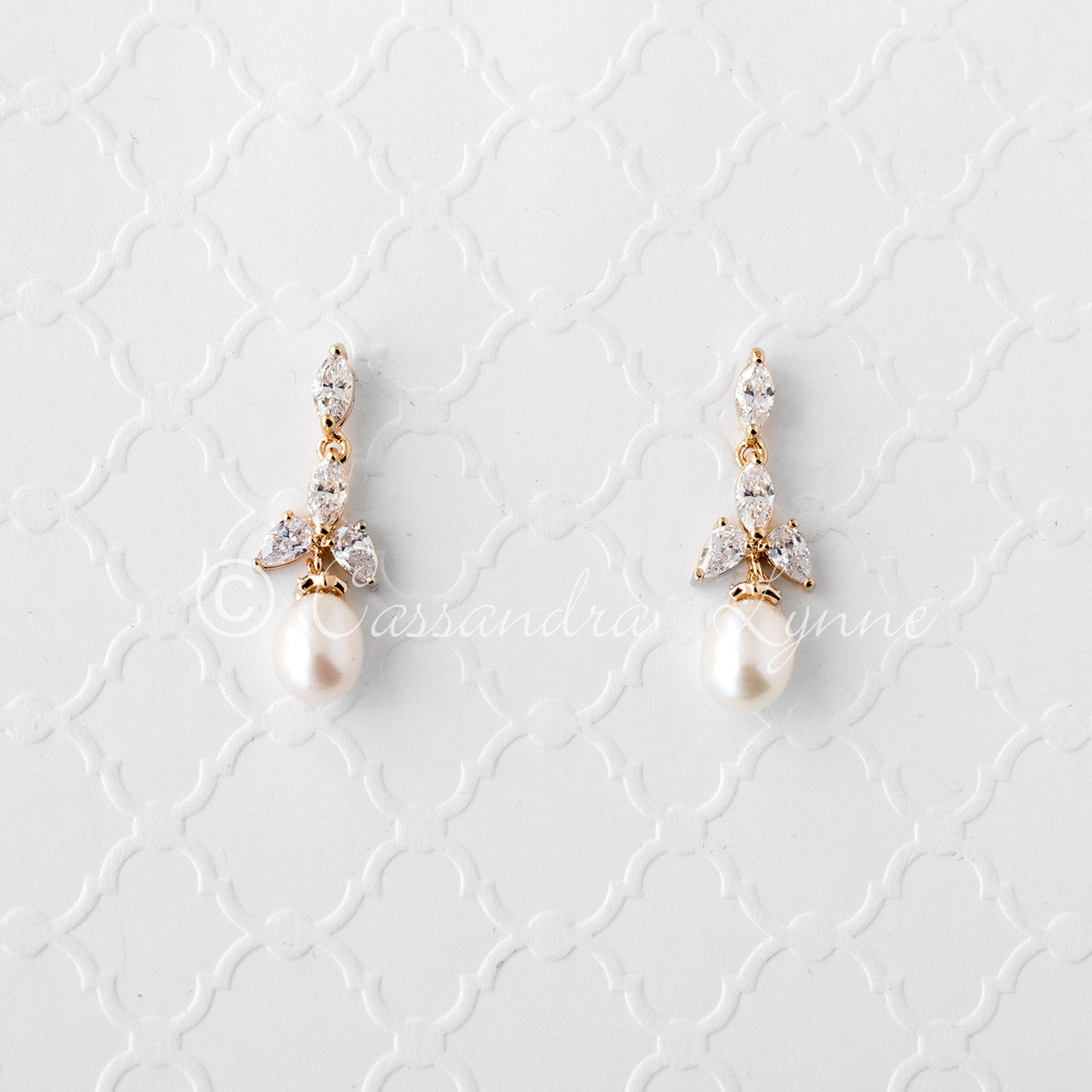 Pearl Bridal Earrings With Cz Jewels Cassandra Lynne