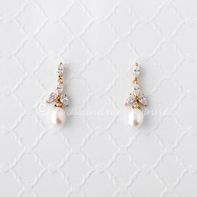 Pearl Drop Bridal Earrings with CZ Jewels